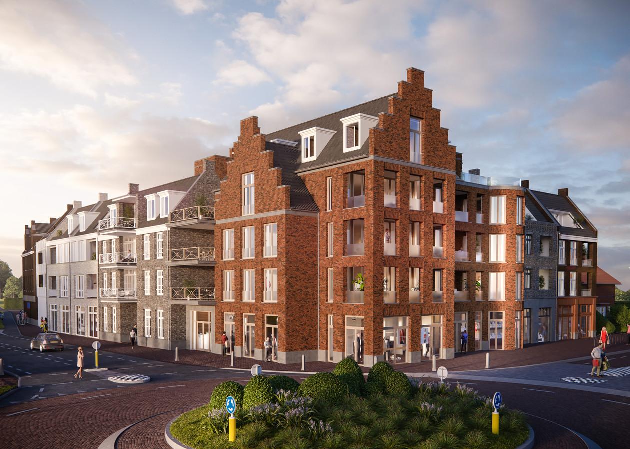 Een impressie van het bouwplan 'Aan het Plein' op de hoek van de Runweg met de Hoogstraat in Berlicum.