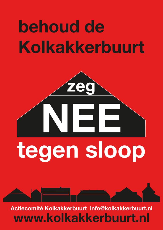 Affiche tegen sloop van woningen in de Kolkakkerbuurt in Ede.