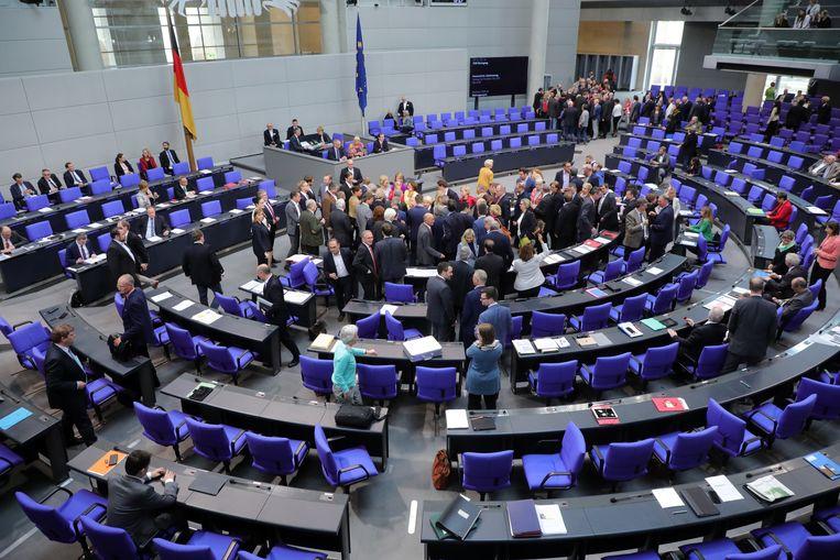 Leden van de Duitse Bundestag stemmen na het debat over de boycotbeweging BDS.