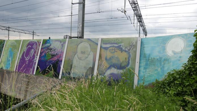 """Parallelweg Zuid. Paul Jongsma: ,,Bij de fietstunnel. Deze graffiti is gemaakt voor de treinreizigers. Door het glas zijn ze niet goed te zien vanaf de straatkant en voor de fietsers. Dat is wel jammer. Er staan veel uitingen over elkaar heen. Eigenlijk is de code: niet over elkaars werk spuiten""""."""