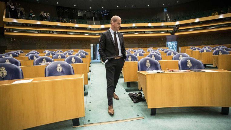 Diederik Samsom tijdens het debat over de aanslagen in Parijs. Beeld anp