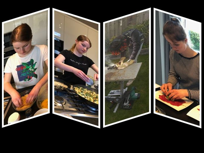 Leerlingen van praktijkschool De Brug in Zaltbommel werken thuis aan hun schoolopdrachten.