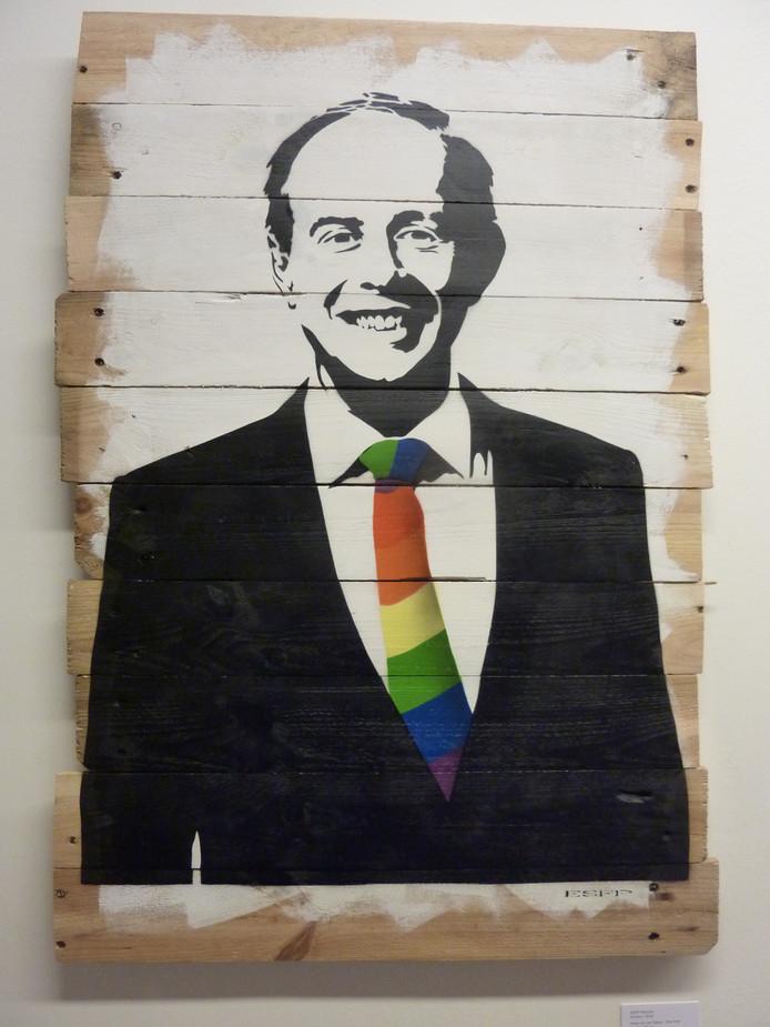 Portret Kees van der Staaij van kunstenaar ESFP Stencils uit Arnhem hangt op AlphenArt
