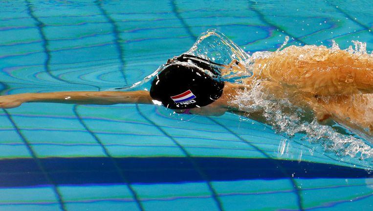 Nyls Korstanje in actie op de 100 meter vrij in oktober tijdens de Swim Cup in Amsterdam, waar hij zich plaatste voor de EK kortebaan in Kopenhagen. Beeld anp