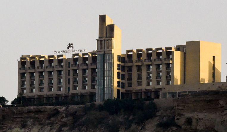 Een in maart genomen foto van het Pearl Continental hotel in de Pakistaanse stad Gwadar.  Beeld AFP
