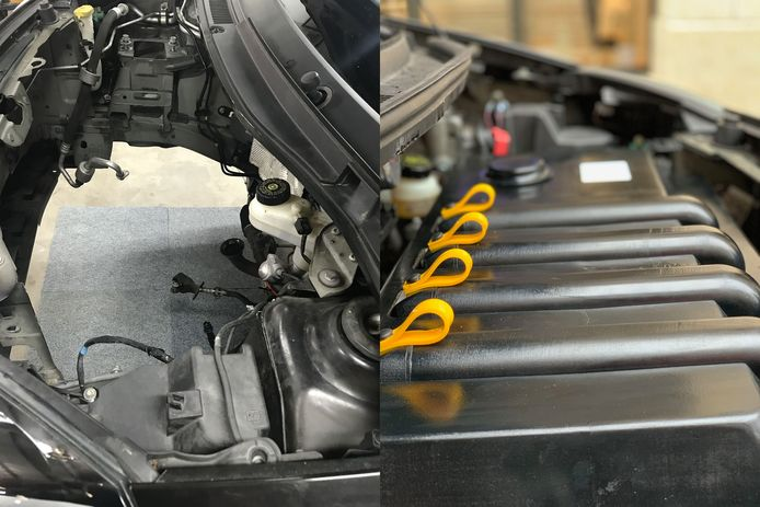 Links het leeggehaalde motorcompartiment van de Twingo, rechts de elektrische aandrijving die daar vervolgens in is geplaatst.