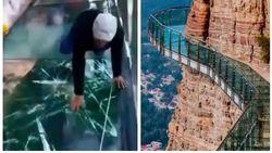 Tourgids gilt het uit als glazen brug op ruim 1.000 meter hoogte onder hem begint te barsten