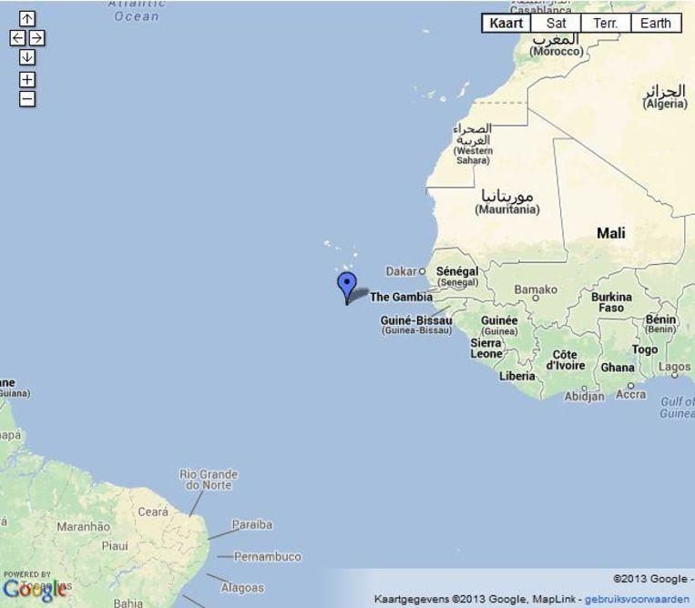 Op dit moment ligt het onderzoeksschip ter hoogte van Senegal Beeld Google Maps