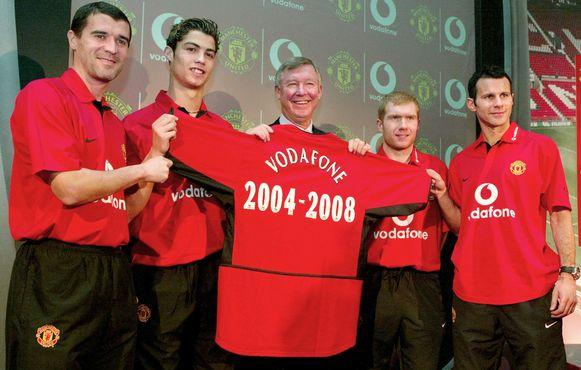 Ronaldo  met Roy Keane, Sir Alex Ferguson, Paul Scholes en Ryan Giggs.