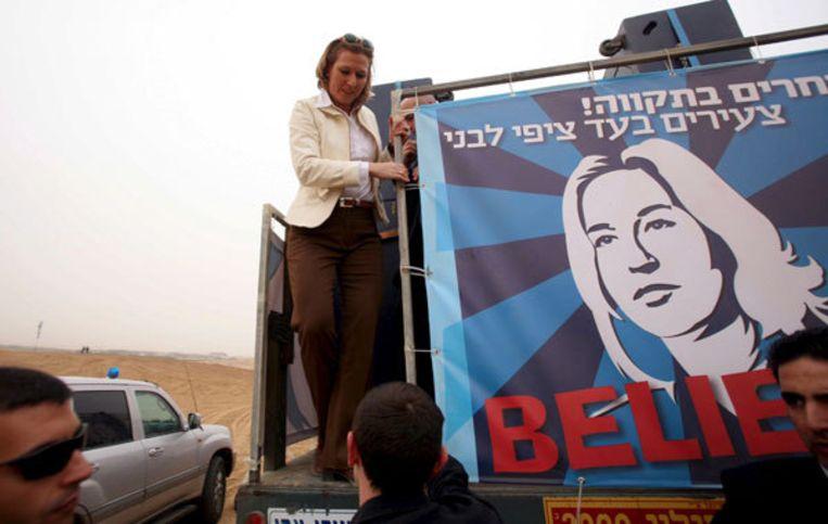 Kadima-kandidate Tzipi Livni tijdens de verkiezingscampagnes. Foto EPA Beeld