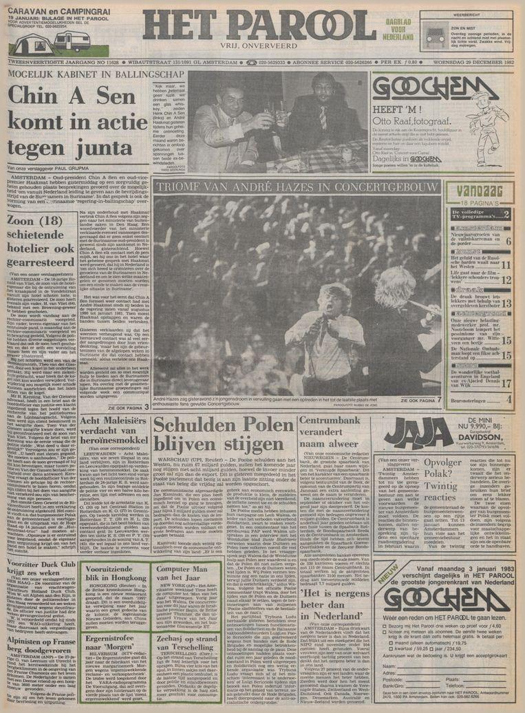 De voorpagina van Het Parool op 29 december 1982, de dag na het concert van Hazes in het Concertgebouw.  Beeld Het Parool