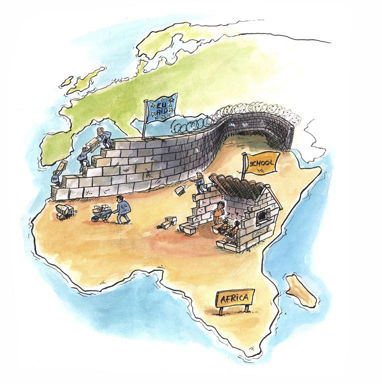 Do not use EU aid for African border control Beeld Cartoon: Martijn Cornelissen / Oxfam Novib