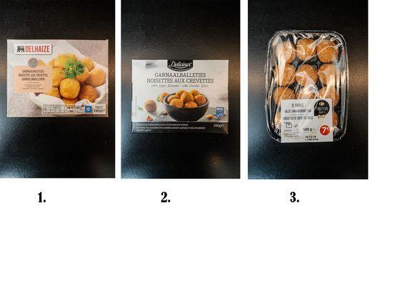 Garnaalkroketten van 1. Delhaize, 2. Lidl en 3. Carrefour