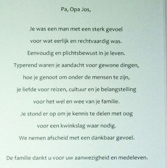 Bidprentje Jos Van den Abeele