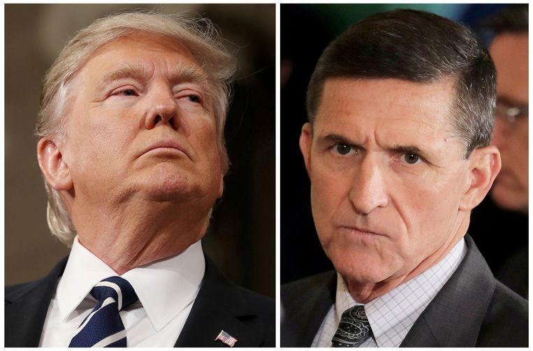 De Amerikaanse president Donald Trump (links) en zijn voormali9ge veiligheidsadviseur Michael Flynn.
