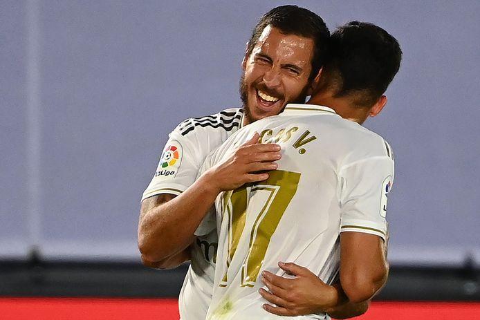 Hazard viert als invaller met Lucas Vazquez de jongste zege van Real tegen Alaves.