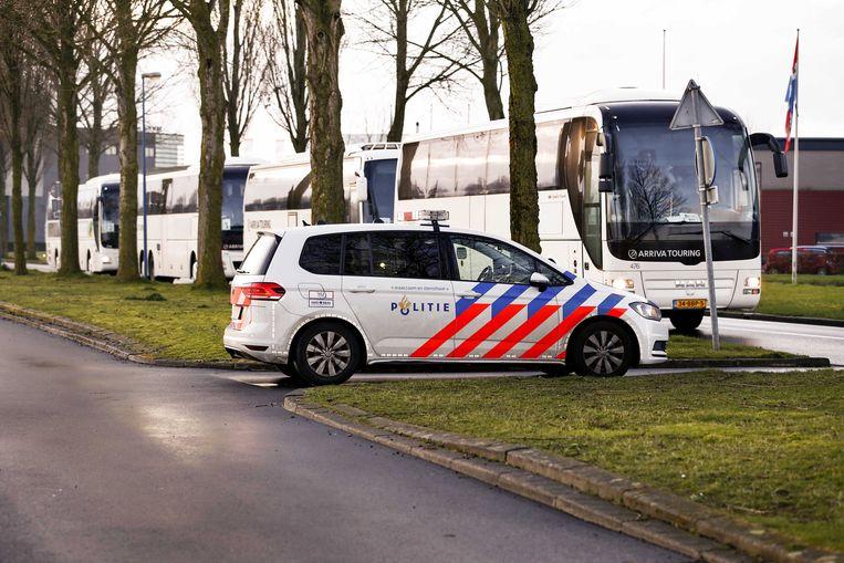 Studenten van vereniging Vindicat zaterdag in Groningen. Beeld EPA