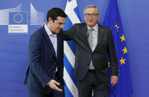 De Griekse premier Tsipras en Europees Commissievoorzitter Jean-Claude Juncker.