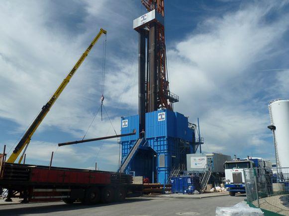 De geothermiecentrale in Mol. De centrale genereert energie op basis van aardwarmte door heet water uit kilometers diepe injectieputten naar boven te halen.