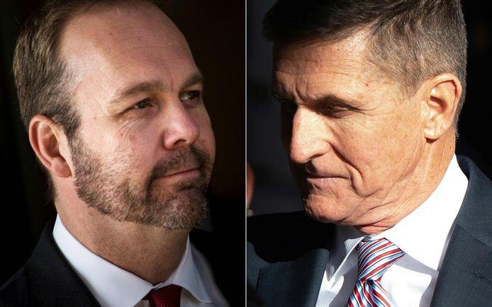 Gewezen campagnemedewerker Rick Gates en voormalig veiligheidsadviseur Michael Flynn.
