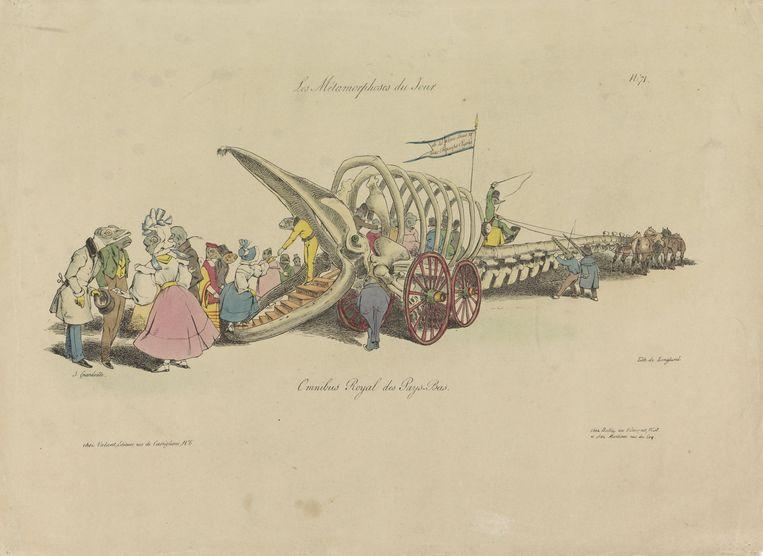 Jean Ignace Isidore, Gérard (Grandville) Omnibus royale des Pays Bas, 1829, litho, Rijksmuseum Amsterdam. Beeld Jean Ignace Isidore