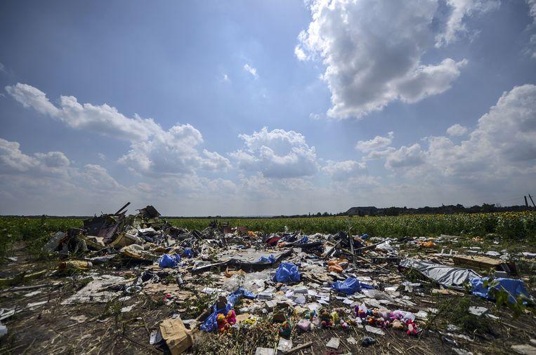 De crashsite van rampvlucht MH17. Beeld AFP