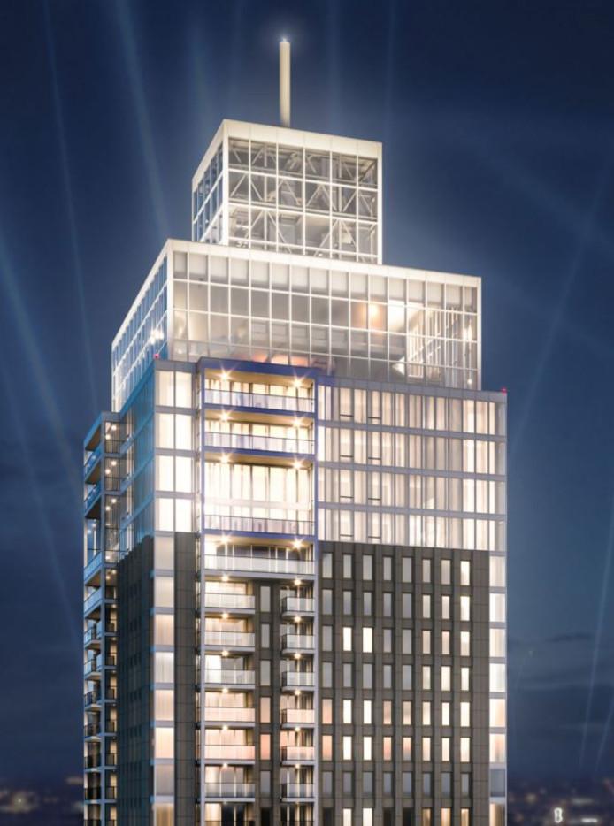 Het bovenste topje van de Zalmhaventoren wordt toch van glas, zodat de 'machinekamer' zichtbaar is.