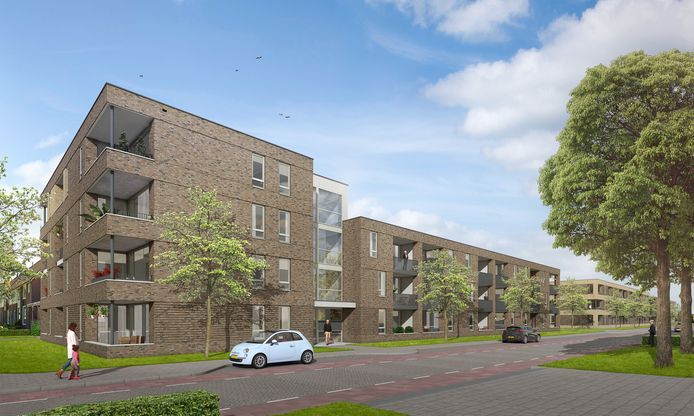 Aan de Trappistenstraat in Dongen worden 72 gasloze appartementen gebouwd.