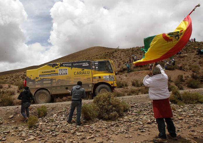 De DAF van Fried van de Laar Racing tijdens de Dakar Rally in Bolivia.