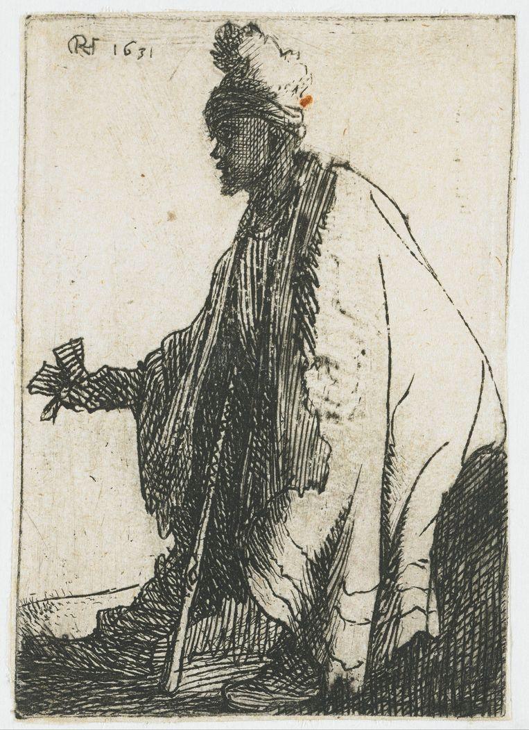 Rembrandt, De lepralijder (met lazarusklep in de hand), 1631, ets, Rijksmuseum. Beeld null