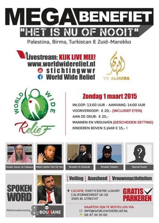 De poster van het gala met de namen van omstreden sprekers.
