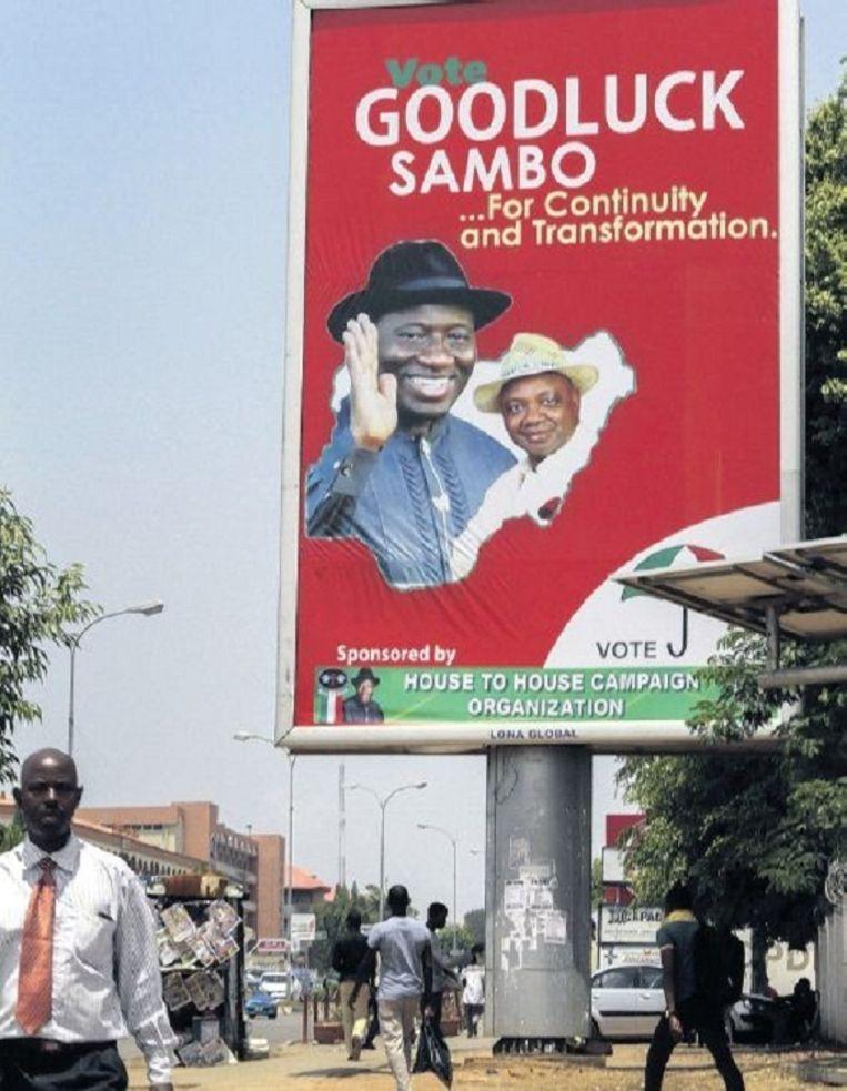 Verkiezingsposter van de regerend president van Nigeria. Beeld epa