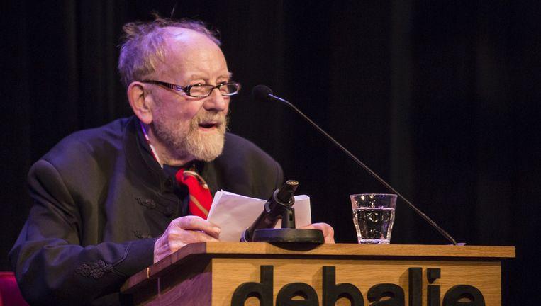 De Deense cartoonist Kurt Westergaard hield in De Balie een lezing over persvrijheid. Beeld Julius Schrank