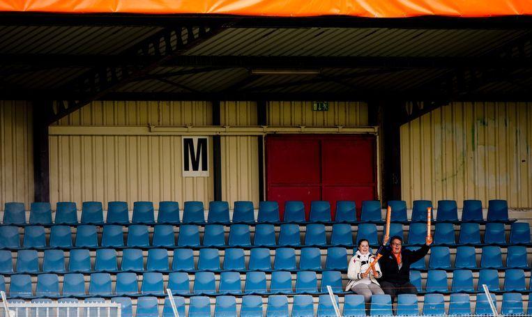 2013: Lege tribunes tijdens de oefeninterland van het Nederlandse vrouwenelftal tegen Australië. Beeld null