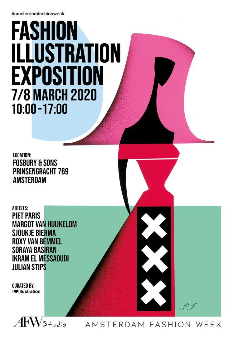 Expositie van modetekeningen (onder meer van Piet Paris) op 7 en 8 maart in het oude Prinsengrachtziekenhuis, nu Fosbury & Sons, Prinsengracht 769, Amsterdam. Beeld