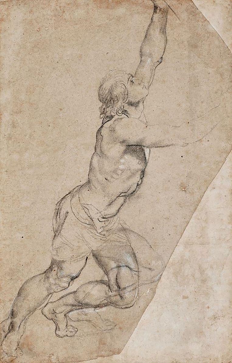De schets van Rubens die voor netto 6,2 miljoen euro geveild is. Beeld .