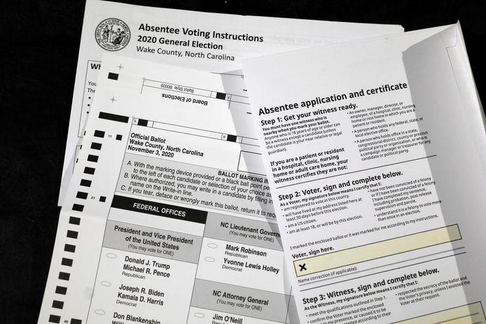 Een stembiljet om op voorhand via de post te stemmen in de staat North Carolina.