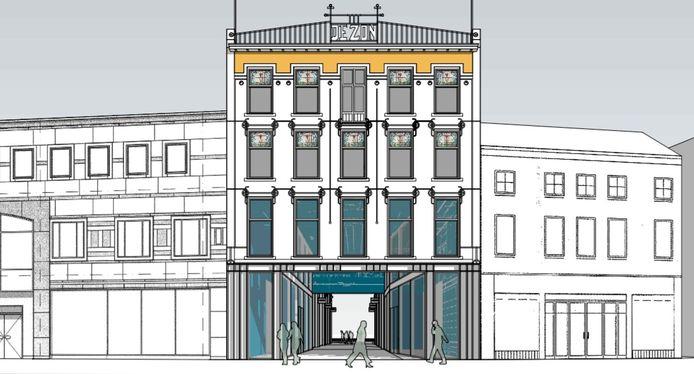 Eerste schets van het oude/nieuwe poortgebouw in de Heuvelstraat.