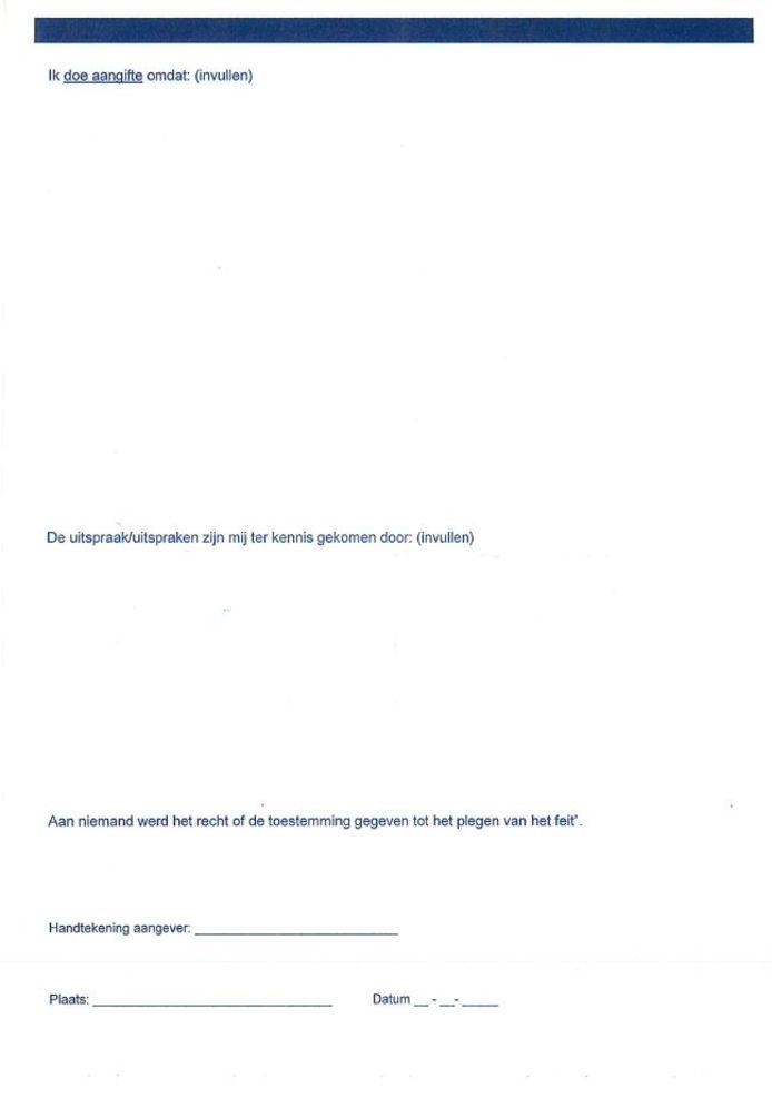 Achterzijde van het aangifteformulier tegen Wilders.