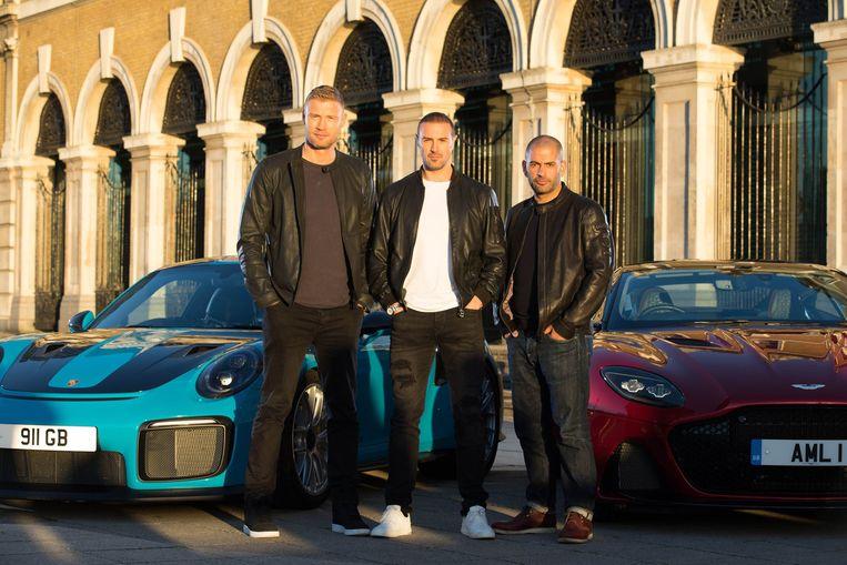 Andrew Flintoff (links), Paddy McGuinness (midden) en Chris Harris  presenteren 'Top Gear' sinds begin 2019.
