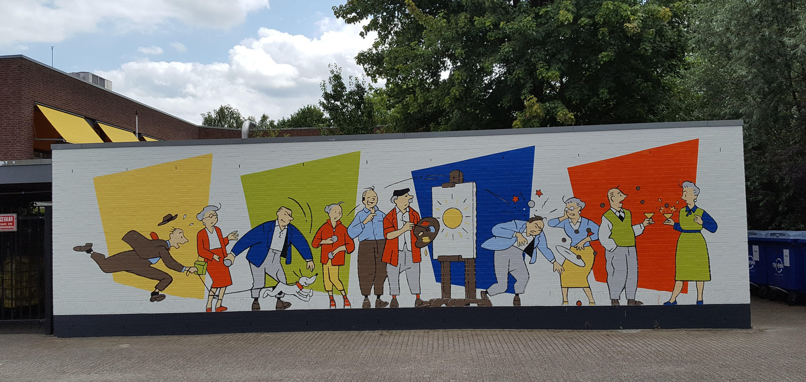 Een muurschildering van Luc Verschuuren bij zorgcentrum De Vloet moest begin dit jaar op last van de gemeente Oiserwijk verwijderd worden