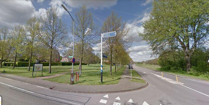 De parkeerplaats in Rheden moet in het park links komen, onder de bomen langs de Laakweg (midden) of in het bosje rechts.
