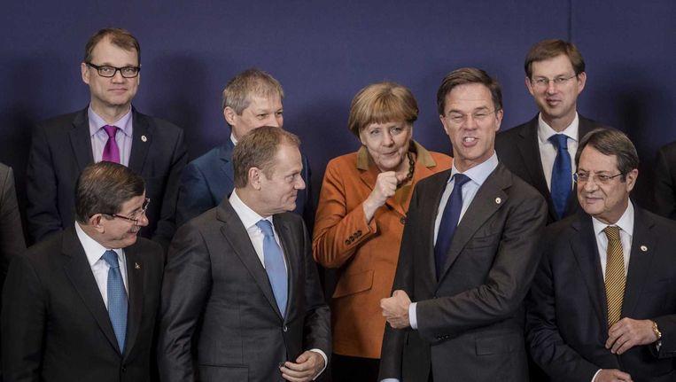EU-president Tusk noemde de top 'het meest belovende moment' tot nu toe in zijn eindtoespraak Beeld anp