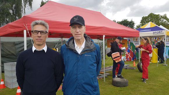 Sportarts Frank Pauwels en ex-VUB-rector Paul De Knop, de peter van de campagne.