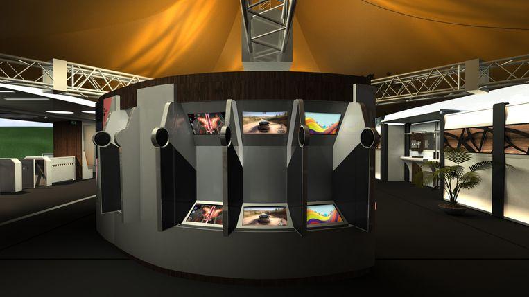 De 3D-schermen in de urinoirs veranderen in een videospel.