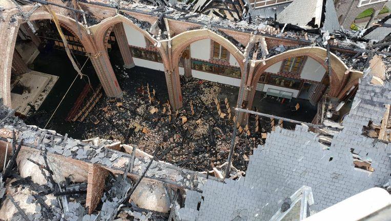 De ravage in de kerk op zondagmiddag. Beeld Ons Bovenkerk
