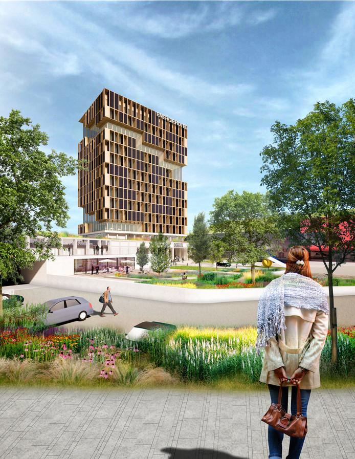 Tekening van het Energiehotel DP6 architectuurstudio.