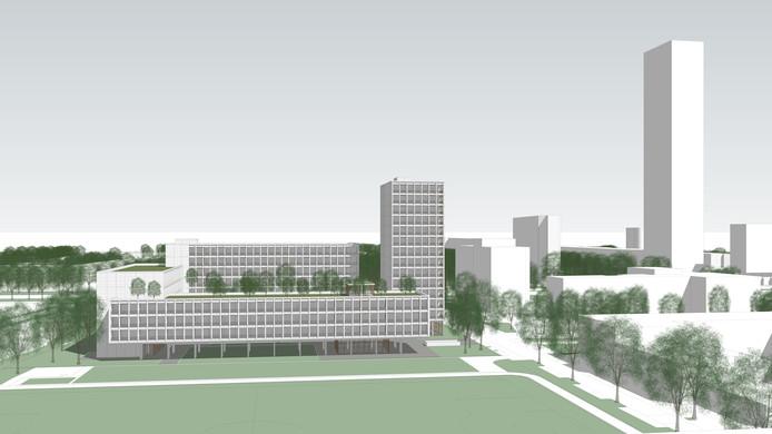 Stedenbouwkundige opzet van de campus voor internationale studenten aan het Reitseplein. Rechts Westpoint.