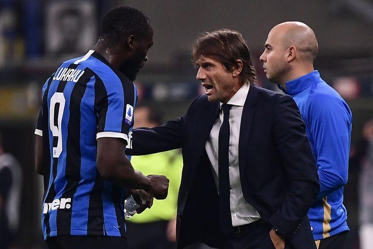 Romelu Lukaku met z'n coach Antonio Conte.
