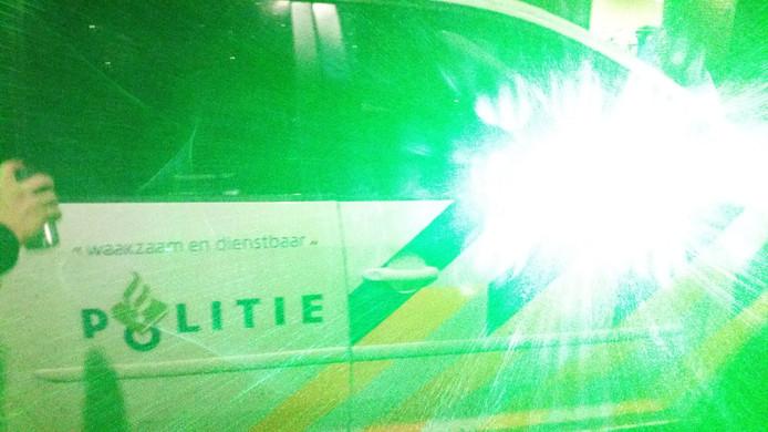 De laserpen is ingenomen door de politie